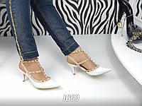 Женские босоножки Valentino, каблук 8 см, эко кожа, белые / босоножки женские Валентино, стильные