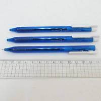 Ручка шариковая автоматическая PT-1163-C (прозрачный корпус) синяя