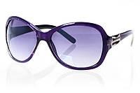 Женские солнцезащитные очки классика серый градиент, оправа глянцевый фиолетовый