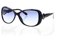 Женские солнцезащитные очки классика серо-синий градиент, оправа черный/серебро