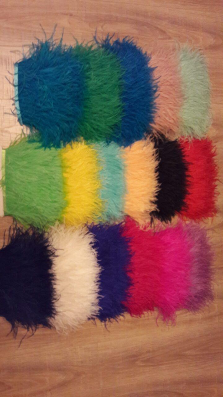 Перьевая тесьма из перьев страуса .Цвет Yellow.Цена за 0,5м