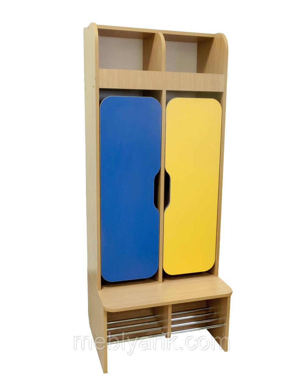 Шафа дитячий 2-місний з фігурними дверима для роздягальні з хромованими трубами
