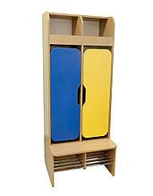 Шкаф детский 2-местный с фигурными дверями для раздевалки с хромированными трубами