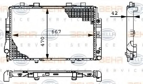 Радиатор охлаждения Mercedes 140 1991-1993 (4.2-6.0 АКП) 667*468мм круглые соты KEMP