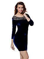 Женское велюровое темно-синее платье