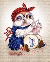 Рисунок на атласе для вышивания бисером Совушка