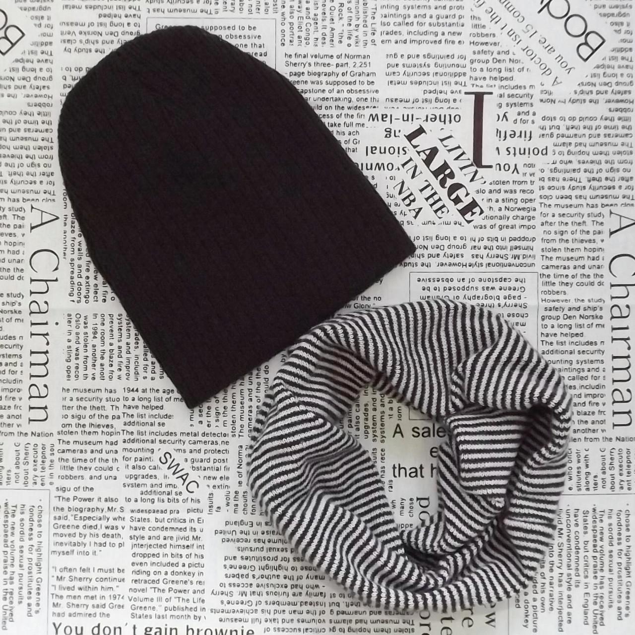 Детский демисезонный вязанный комплект  шапка и хомут -