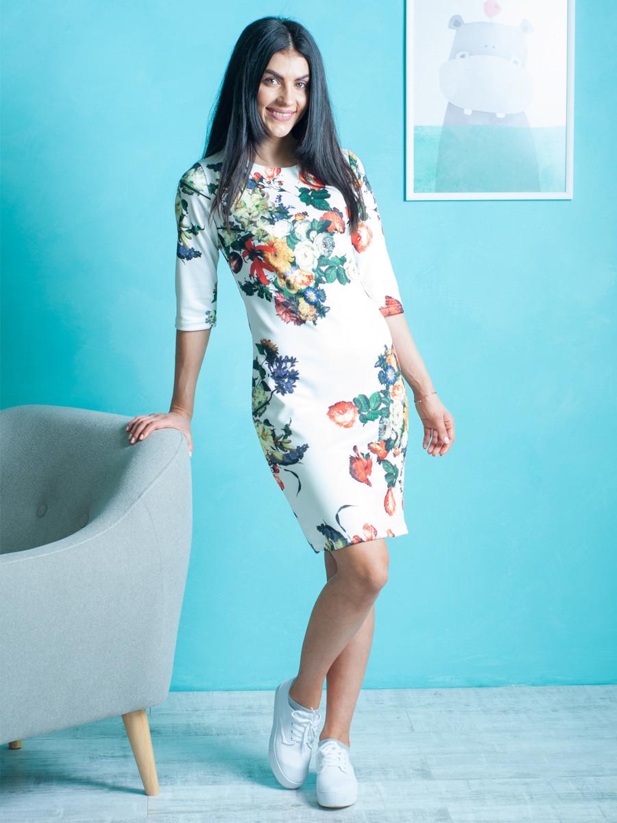 Женское молодёжное платье с цветочным принтом выше колена 42-44, 50-52