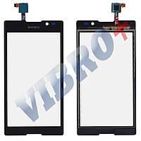 Тачскрин (сенсор) Sony C2305 Xperia C (S39h), цвет черный, маленькая микросхема