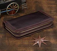 Винтажный мужской клатч-портмоне из натуральной кожи коричневого цвета 00302