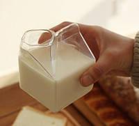 Емкость для сливок молока молочник в форме пакета стеклянная тетрапак