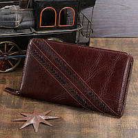 Мужской кожаный клатч-портмоне в винтажном стиле коричневый 00303