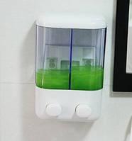Диспенсер дозатор для жидкого мыла двойной настенный автоматический податчик моющих средств с присосками