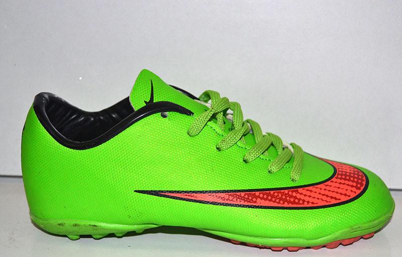 Кроссовки футбольные (сороконожки) Nike оригинал подростковые фабричные  зелёные NI0012 36 6d57b2f68f1