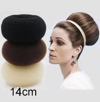 Бублик Hair Bun большой (XXL) для гульки, пучка. Диаметр 14 см. Кремовый. Причёска для бальных танцев., фото 1