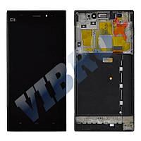 Дисплей Xiaomi Mi3 WCDMA с тачскрином в сборе, с рамкой (цвет черный), Б У