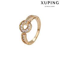 Кольцо 14300/1 нет одного камня, размер 18, белые камни, позолота 18К, фото 1