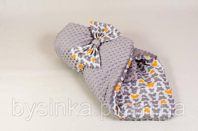 "Конверт -одеяло плед на выписку ""Бабочки на сером""- Зимний"