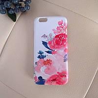 Дизайнерский пластиковый белый чехол с цветами для iPhone 6/6s
