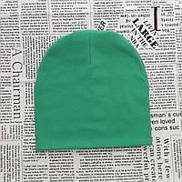 Демисезонная шапка детская 4-12 лет Изумрудный