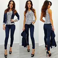 Костюм тройка (блуза-пиджак-брюки)
