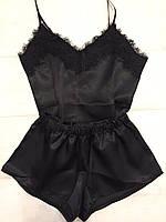 Черный атласный комплект майка +шорты