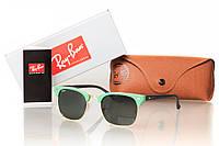 Солнцезащитные очки реплика RAY BAN CLUBMASTER матовая зеленая оправа/ золото (дужки темный металлик)
