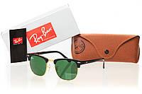 Солнцезащитные очки реплика RAY BAN CLUBMASTER натуральный зеленый, оправа глянцевый черный/ золото
