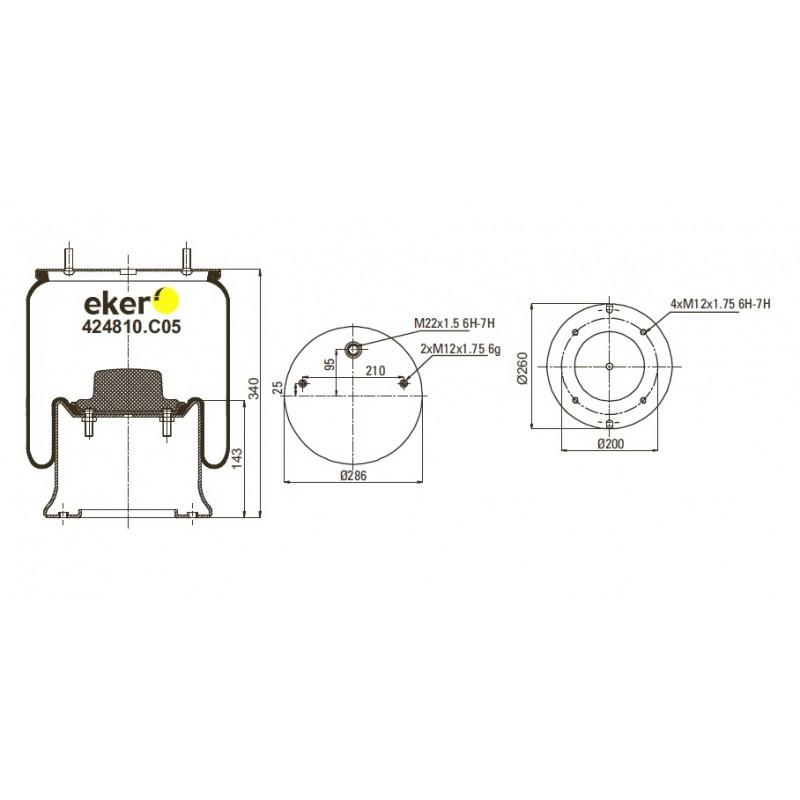 424810.C05 Пневморессора 4810NP05 SAF со стаканом, 2 шпильки(смещены)+воздух М22мм