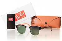 Солнцезащитные очки RAY BAN CLUBMASTER зеленый, оправа глянцевый черный/персиковый