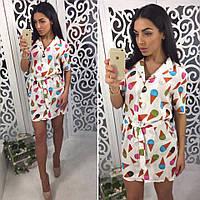 """Платье-рубашка модное стильное мини """"Мороженое рожок"""" SMol1308"""