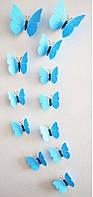 3 D Бабочки для декора 12 штук. МАГНИТ+ЛИПУЧКА голубые