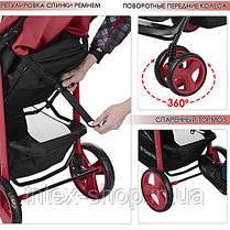 Детская коляска-трость Bambi Красная (M 3444-3 NEXT) с регулировкой спинки, фото 3