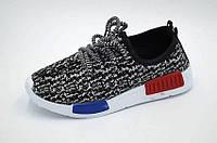 Легкие весенние кроссовки-сетка подростковые  для мальчиков черно-белые 31р.