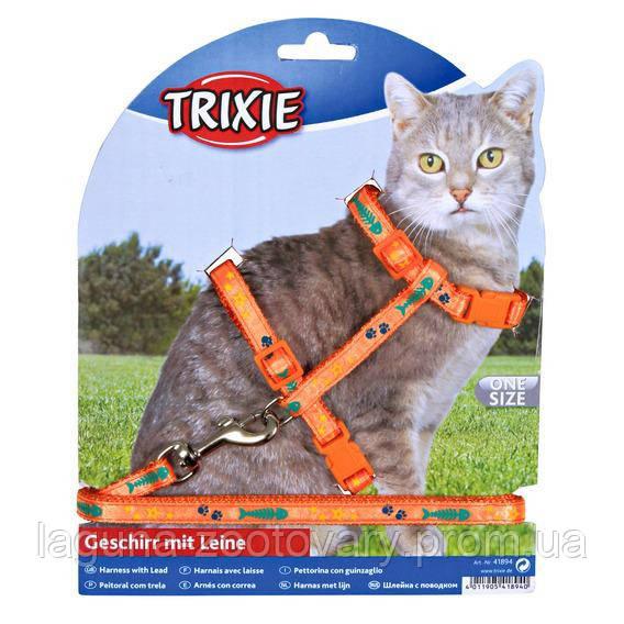 Шлейка с поводком для котов 22-36см/10мм, с рисунком