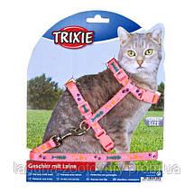 Шлейка с поводком для котов 22-36см/10мм, с рисунком, фото 2