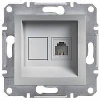 Розетка телефонная RJ11 с 1-гнездом, алюминий - Schneider Electric Asfora