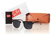 Солнцезащитные очки RAY BAN CLUBMASTER черный градиент, глянцевый черный/золото (красная оправа внутри)