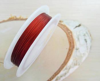 Метализированный трос 0,38 мм красный 1 м