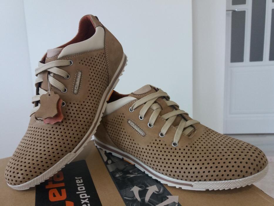 Мужские кожаные спортивные туфли ClubShoes,перфорация,оливковые - Интернет  магазин