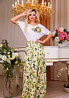 Платье макси белый верх и низ в цветочный принт в расцветках