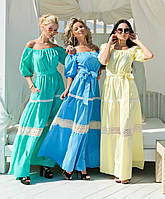 Платье макси коттон с кружевом в расцветках