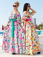 Платье макси коттон цветочный принт в расцветках