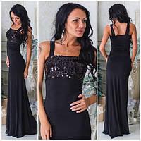 Черное праздничное платье в пол с пайетками