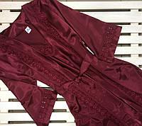 Комплект женский атласный халат и сорочка  Jasmin бордо,размер S,M,L,XL