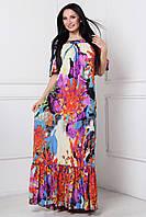 Роскошное летнее платье в пол с ярким принтом АКЦИЯ размеры 48-54