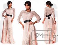Красивое длинное платье из трикотажа + эластан (пояс в комплекте)