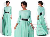 Длинное платье с поясом из трикотажа. В разных цветах