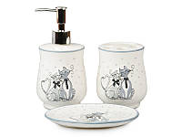 Набор для ванной комнаты керамический 3 предмета Коты 940-021