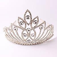 Корона в белом металле с кристаллами